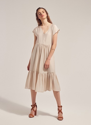 Monamoda V Yaka Volanlı Loose Fit Elbise Taş